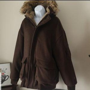 Mens XL Akademiks winter coat fur hooded